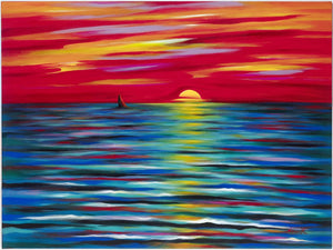 "Red Sunset canvas print on Traditional Stretched Canvas (original: 40"" X 50"")"