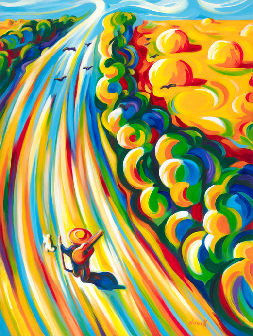 Novik The Road to the Sky is an original painting by Art by Novik.  Novik is a Southern California artist made famous by his long-time presence on Venice Beach.  Novik paints in bright, vibrant colors in his unique abstract and abstract expressionist style.