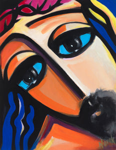 art-by-novik - (20X16) Savior's Eyes on Traditional Stretched Canvas -