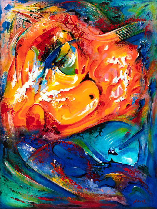 art-by-novik - (48X36) Sea World on Traditional Stretched Canvas -
