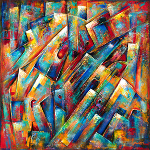 art-by-novik - (48X48) Space Collection on Traditional Stretched Canvas -