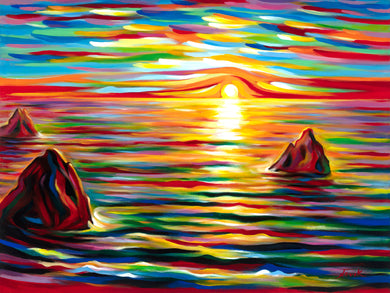 (36X48) Sunset for Three on Traditional Stretched Canvas
