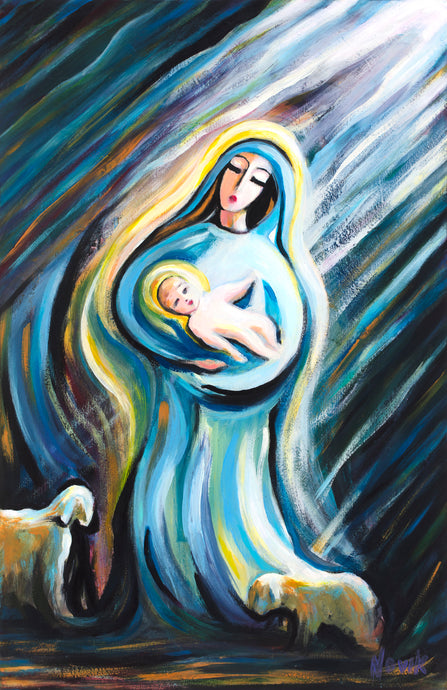 art-by-novik - (24X16) Birth of the Savior on Traditional Stretched Canvas -