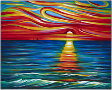 Load image into Gallery viewer, Journal Diary Ocean Wave Sunset Expressionist Art by Novik - TGOS