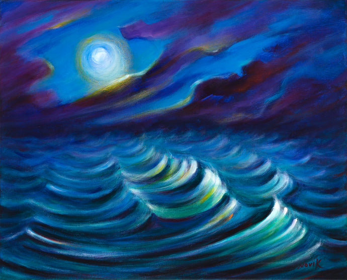 art-by-novik - Watching on the Waves canvas print on Traditional Stretched Canvas (original: 16