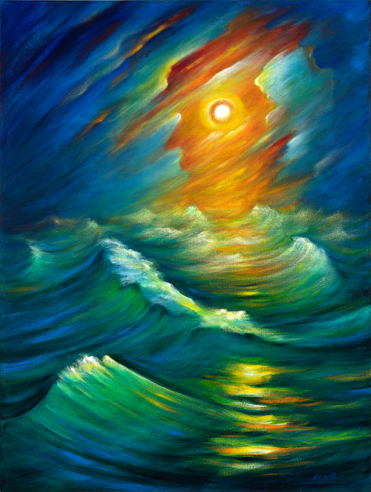 art-by-novik - Yellow from the Night Sky canvas print on Traditional Stretched Canvas (original: 40