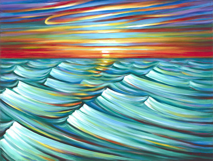 Evening Waves Sunset painting by Novik canvas prints expressionism