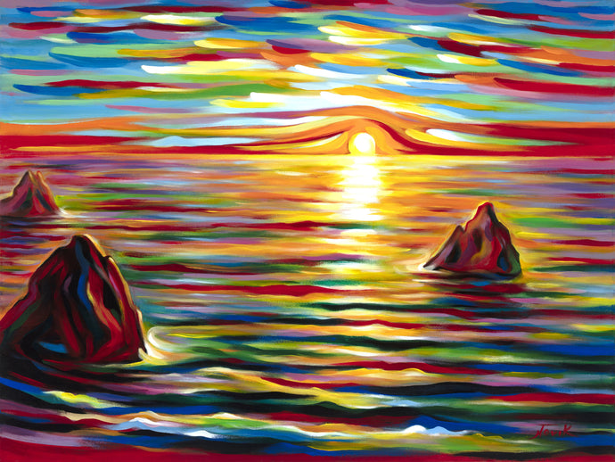 Sunset for Three Sunset painting by Novik canvas prints expressionism