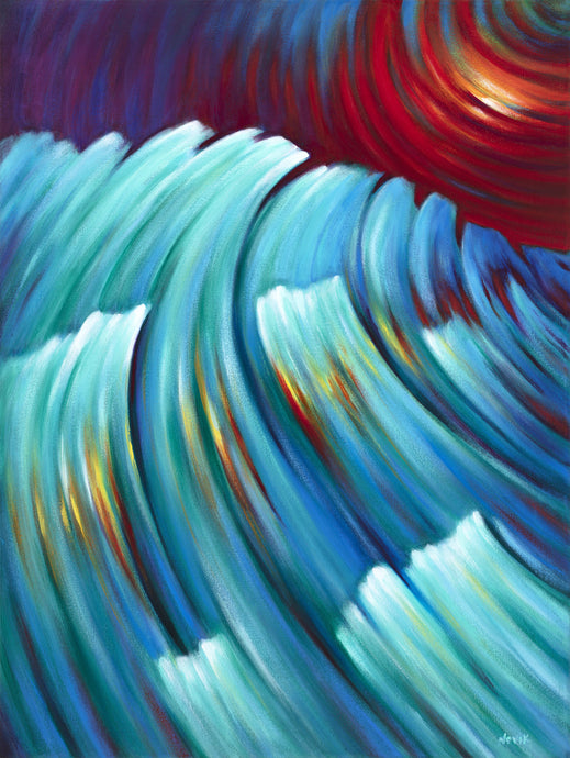 Storm from the Future - Sunset Ocean Waves Surreal painting by Novik canvas prints expressionism