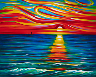 (48X60) The Gift of Sunset on Traditional Stretched Canvas