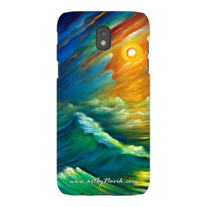 Phone Case Surrealist Ocean Storm Wave Expressionist Art by Novik - Yellow from the Night Sky