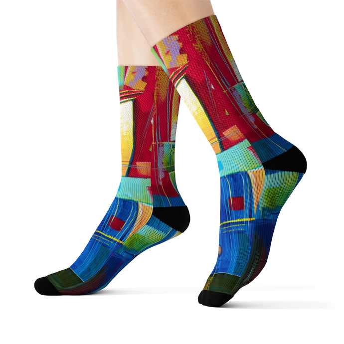 art-by-novik - Mechanical Romance Sublimation Socks - All Over Prints