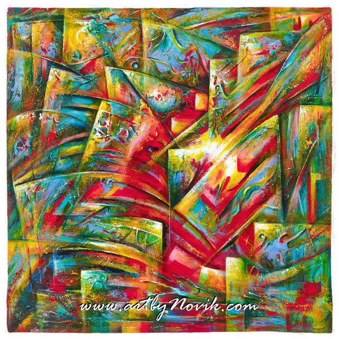 Colorful Abstract Art Bandana by Novik - The Birthplace of Fire