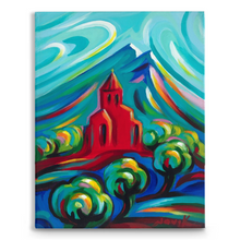 Load image into Gallery viewer, Red Church on Traditional Stretched Canvas (14X11)
