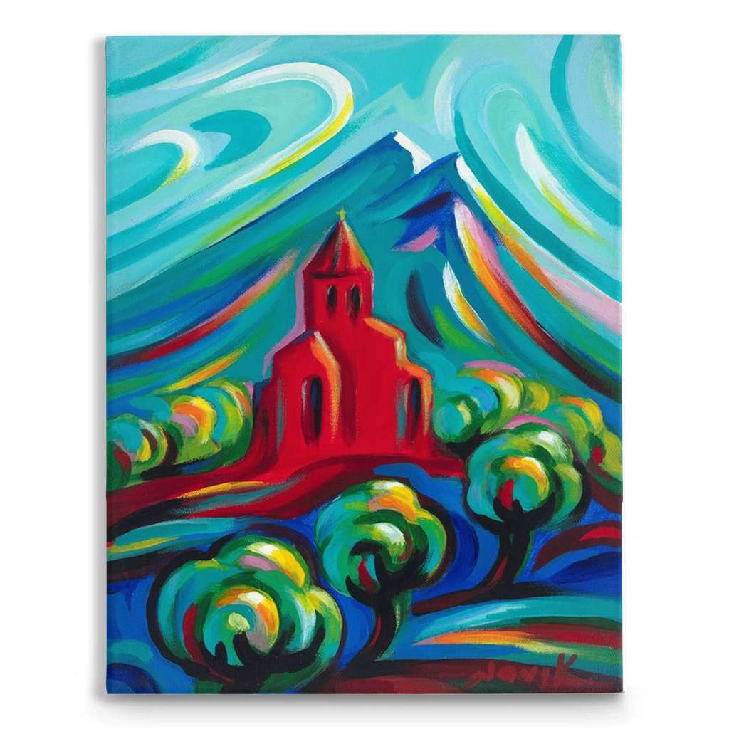 Red Church on Traditional Stretched Canvas (14X11)