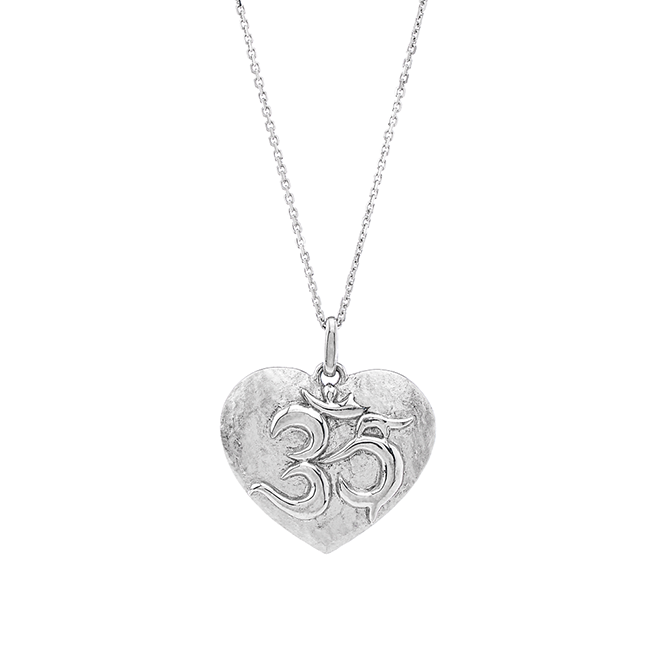 Sterling Silver Om Heart Necklace