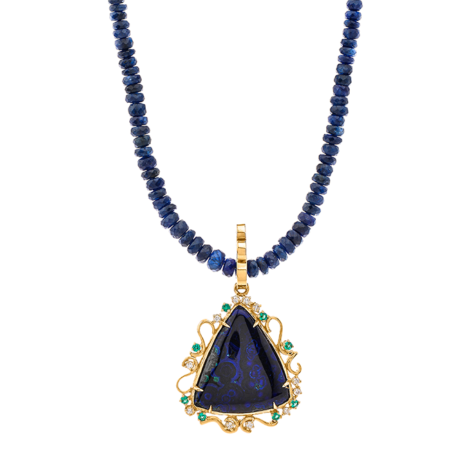 Deep Blue Ocean Gold Necklace