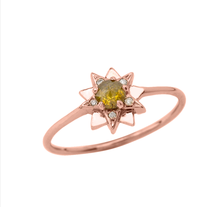 Dainty Star Diamond Gold Ring