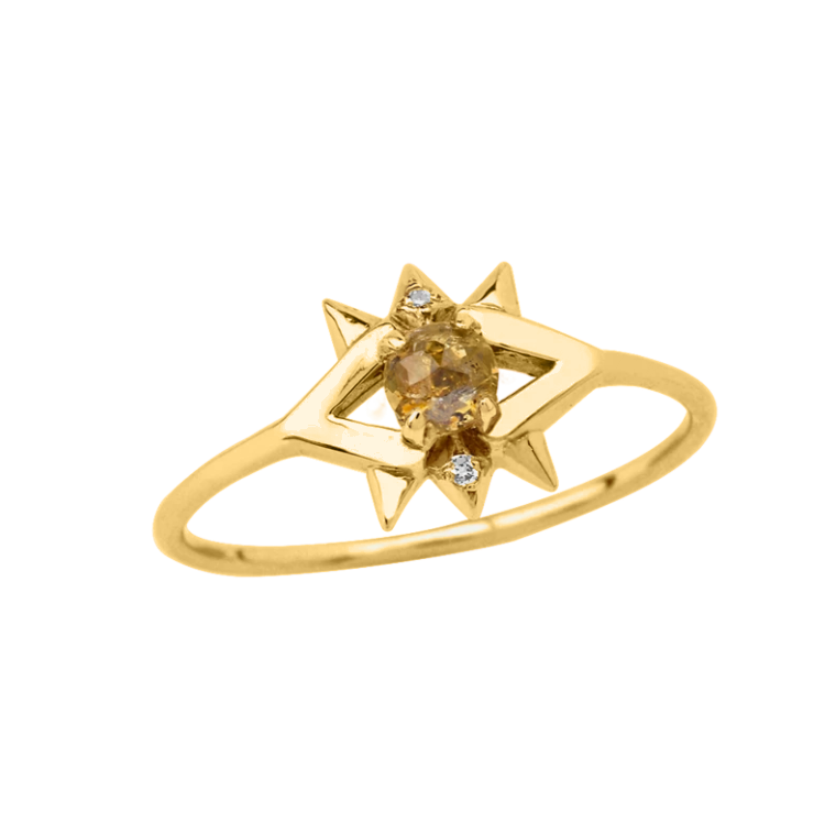 14K Solid Yellow Diamond Protective Eye Ring