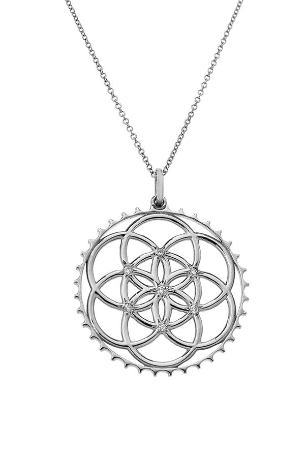 Sterling Silver Seed of Life Pendant With Diamonds