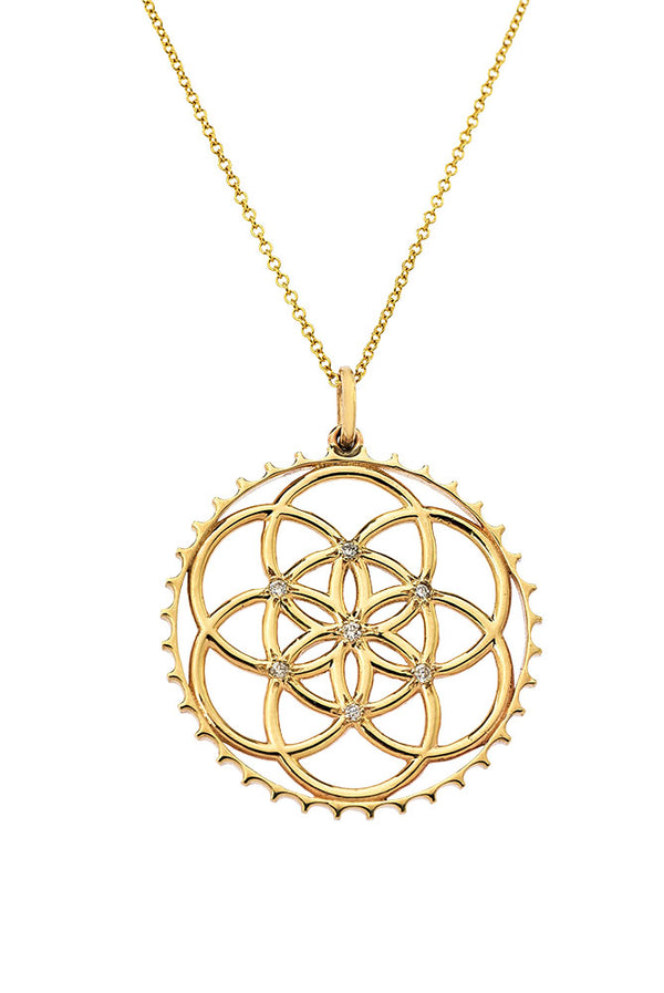 14K Seed of Life Pendant With Diamonds