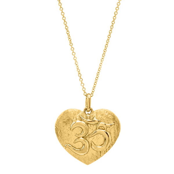 Gold Om Heart Necklace