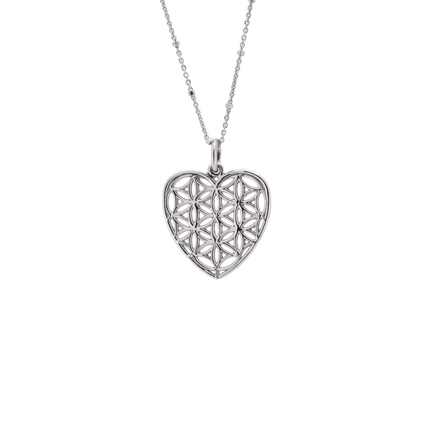 Sterling Silver Heart-Shaped Flower of Life Pendant
