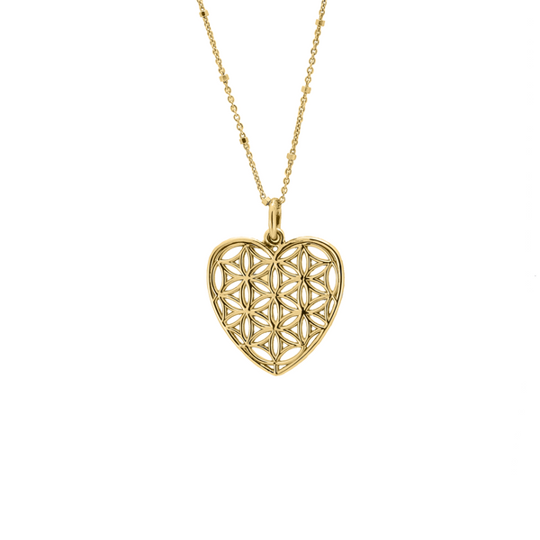 14K Solid Gold Heart-Shaped Flower of Life Pendant