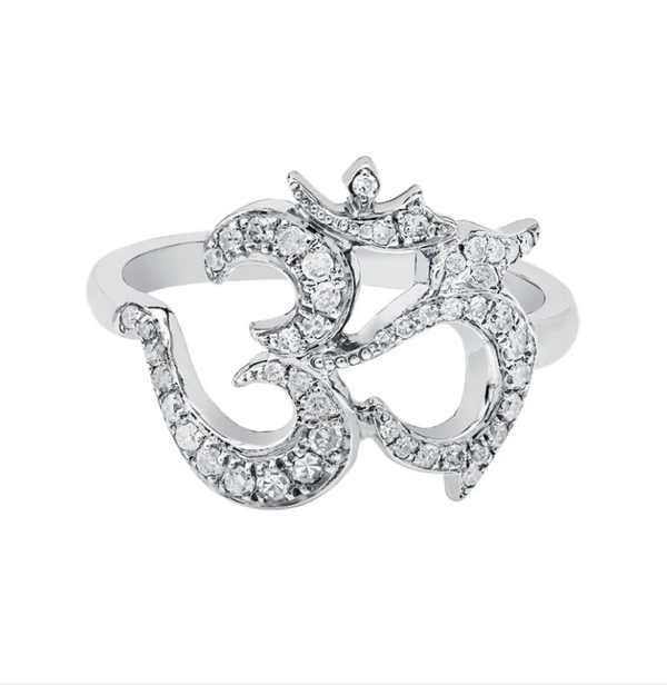 Sterling Silver Om Ring with Diamonds