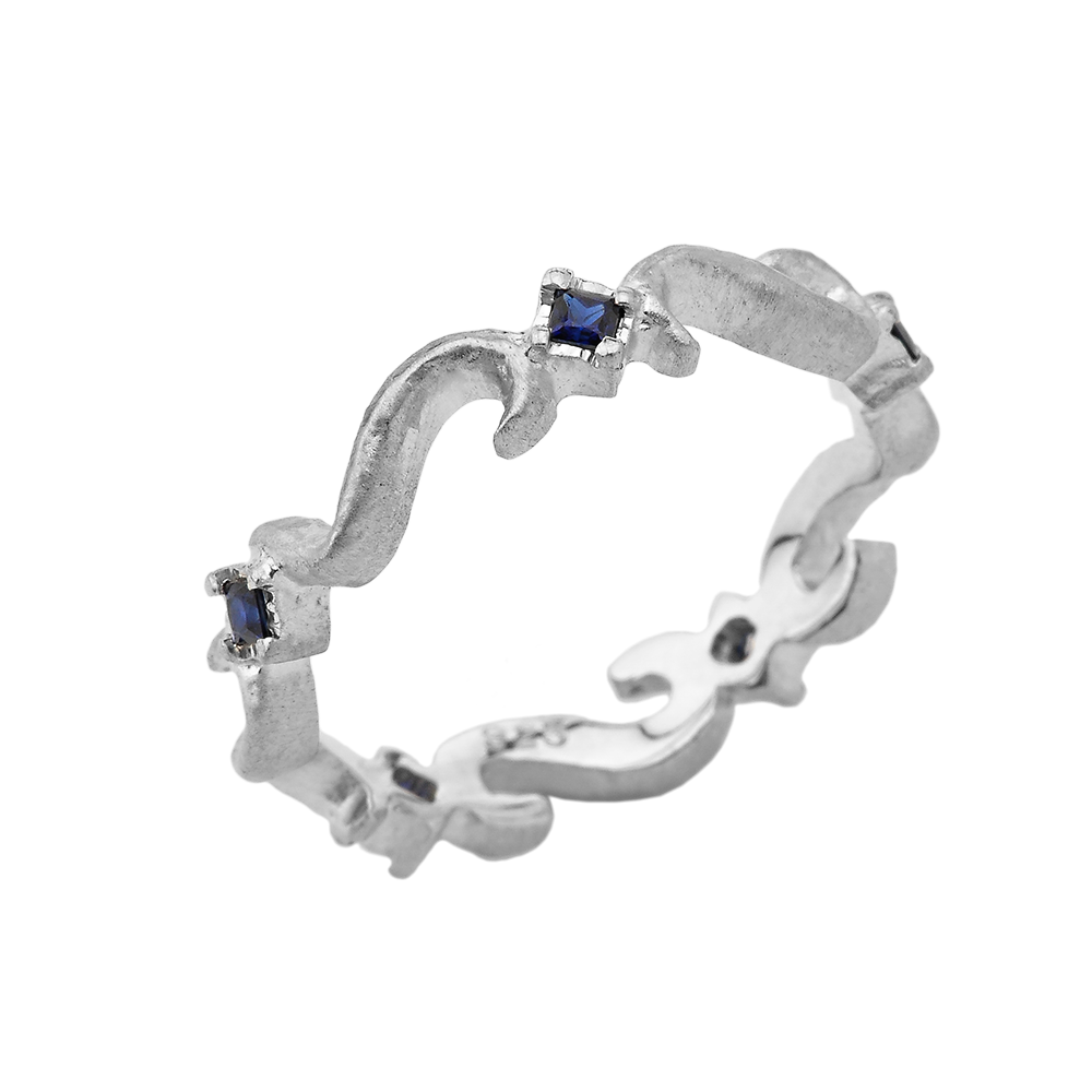 Sapphire Swirling Star Silver Band