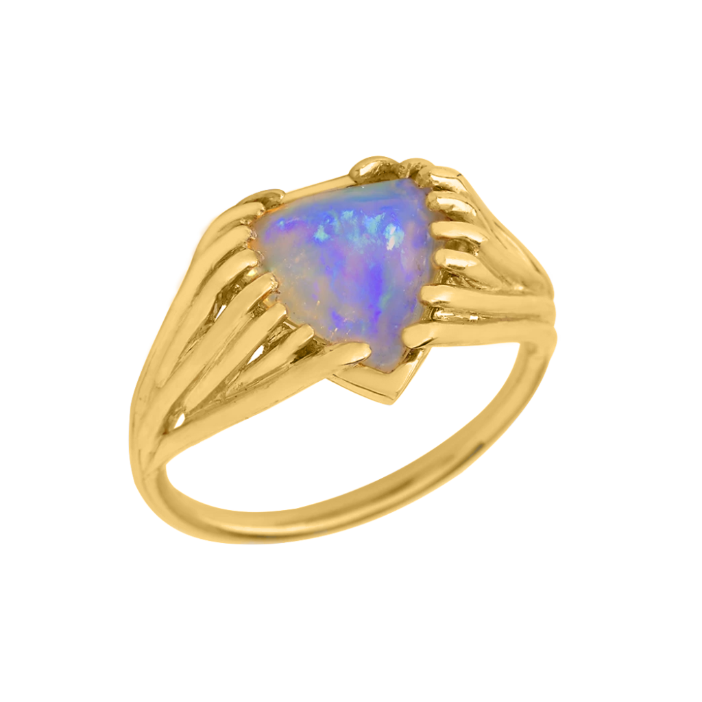 Trillion Opal Wire Gold Ring