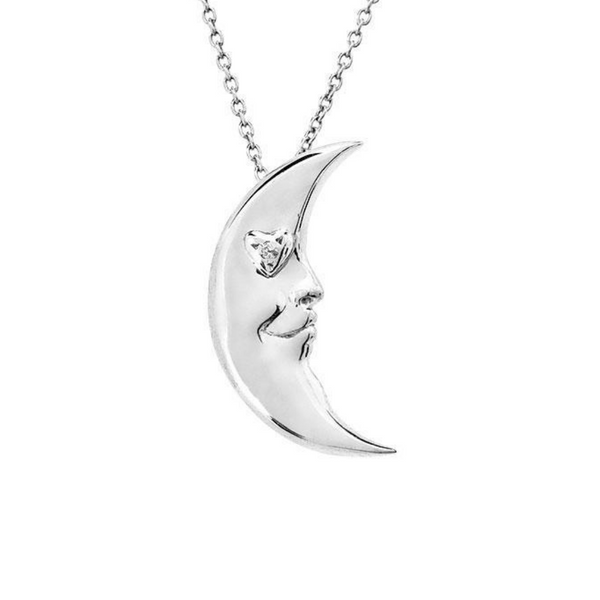 Crescent Moon with Heart Silver Necklace