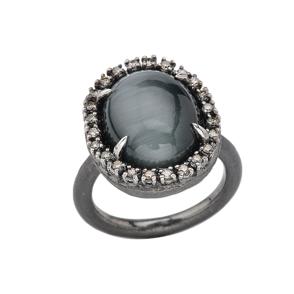 Wicked Night Chrysoberyl-Indian Cats Eye Silver Ring