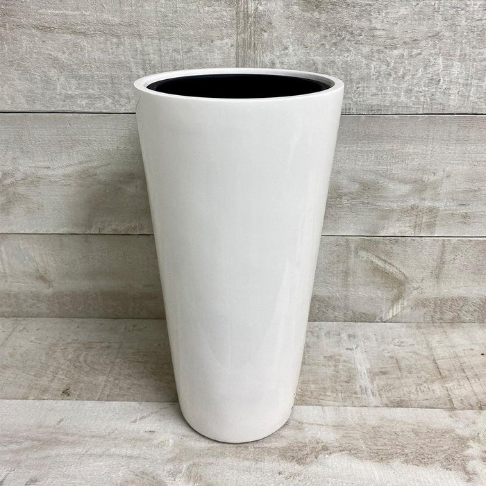 Polystone Round Tapered Pot with Insert (White)