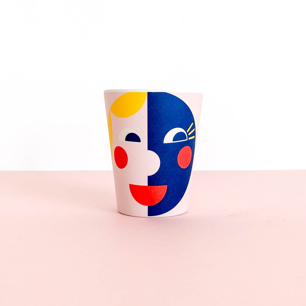Bamboo Cup - Yellow & Blue Face