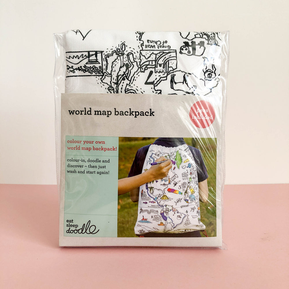 Doodle World Map Backpack