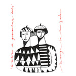Girls in Geometric Hats - Margo in Margate - 30 x 40 Print