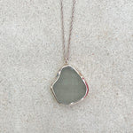 Sea Glass Necklace - Embossed Grey