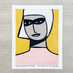 Margo in Margate - Girl in Pink on Orange - 40x50cm Print