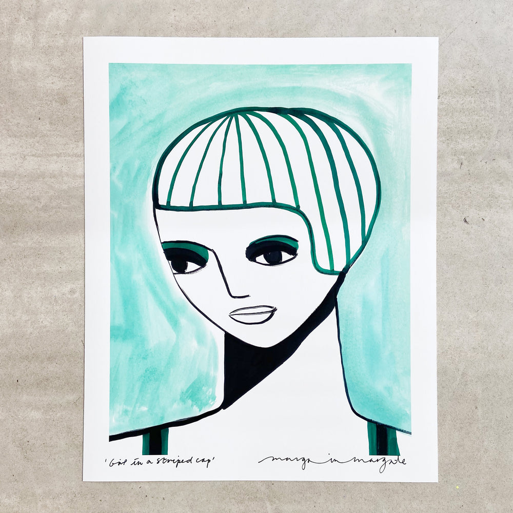 Girl in a Striped Cap - Margo in Margate - 40 x 50 Print