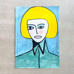 Margo in Margate - Girl in Green Seagull Shirt - 50x70cm Original Painting
