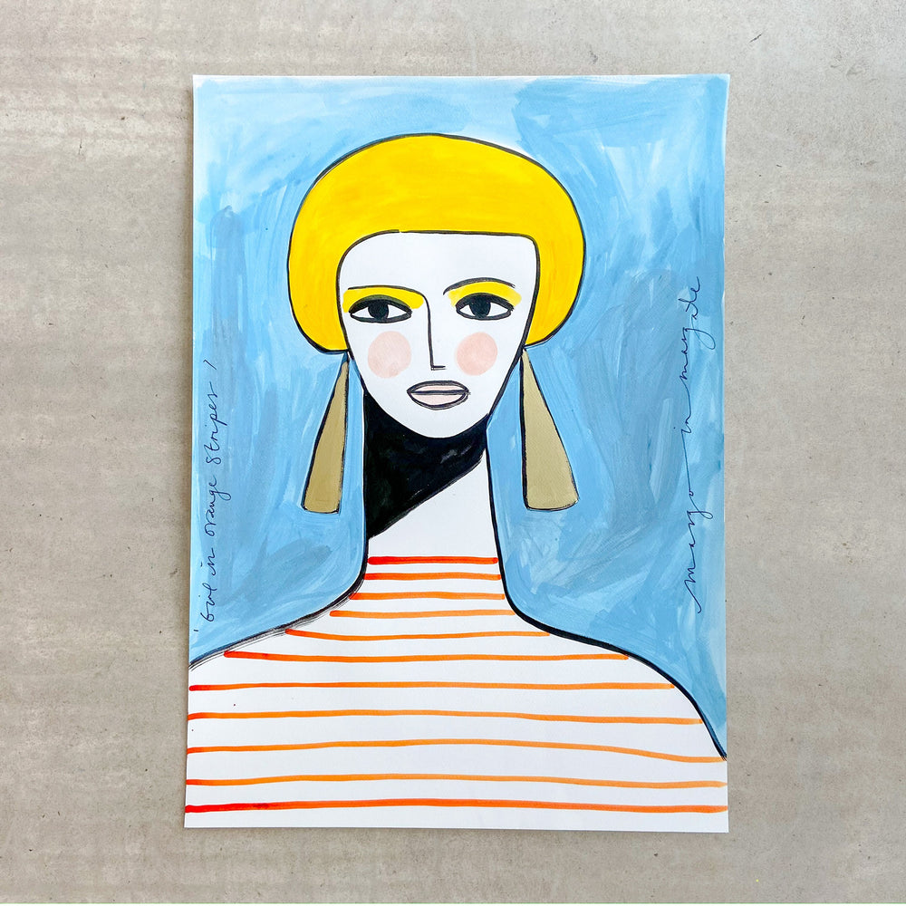Margo in Margate - Girl in Orange Stripes - 50x70cm Original Painting