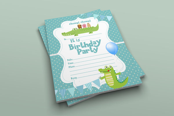 Cute Crocodile birthday party invitations for Kids + Envelopes