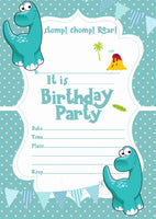 Cute Dinosaur birthday party invitations for Kids + Envelopes