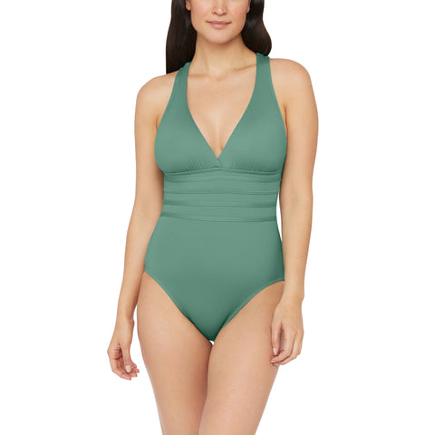 Island Goddess Multi-Strap Cross-Back One Piece in Aloe Green