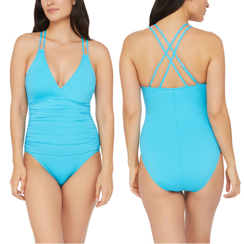 Island Goddess Underwire Cross-Back One Piece in Poolside