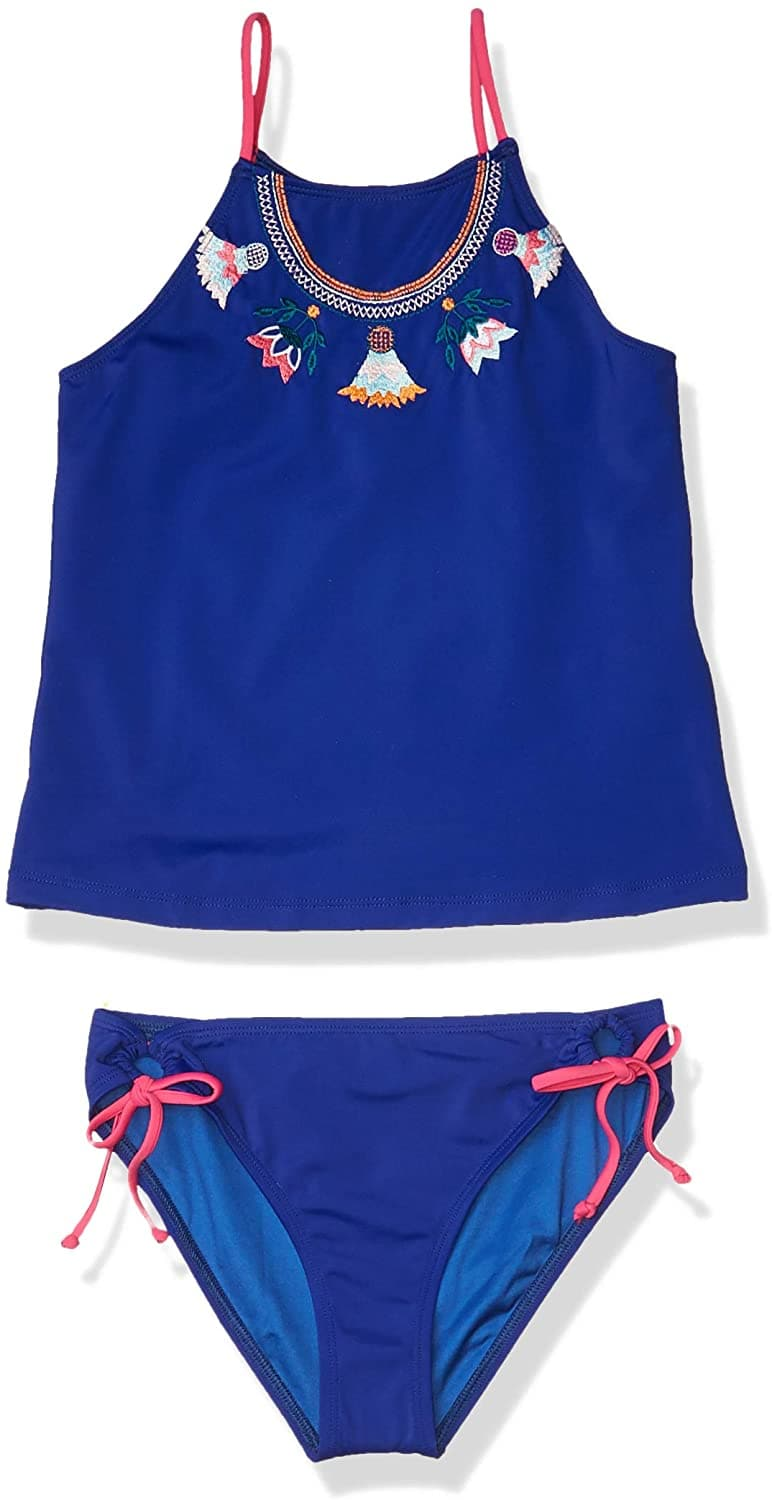 Rainbow Tribe Embroidery High Neck Tankini and Hipster Bottom (Girls)