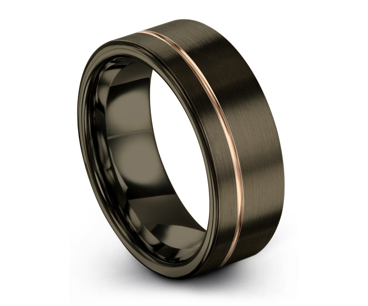 Engagement Gunmetal Gold Wedding Band Anniversary Brushed Tungsten Ring Gifts for her Promise Ring Wedding Gifts for him