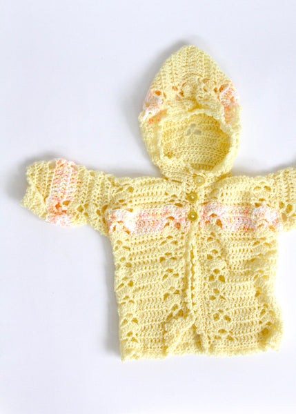 Yellow and Peach Knit Baby Hoodie, 3-6 months
