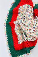Rainbow Speckled, Green and Red Baby Blanket